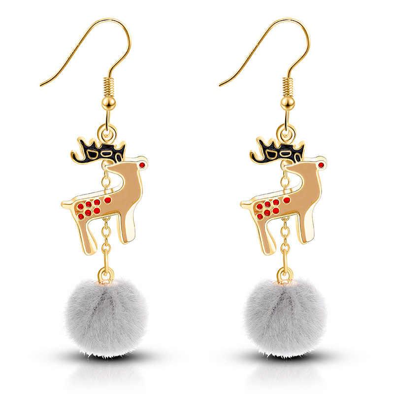 แฟชั่นคริสต์มาสใหม่ต่างหูน่ารัก ELK Christmas Tree ต่างหูวันหยุดอารมณ์บุคลิกภาพผมต่างหูขายร้อน