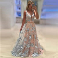 U SWEAR Summer Long Dress Gown V Neck Tulle Long Evening Party Dress Hollow Out Sexy Open Back Elegant Formal Dresses Vestidos