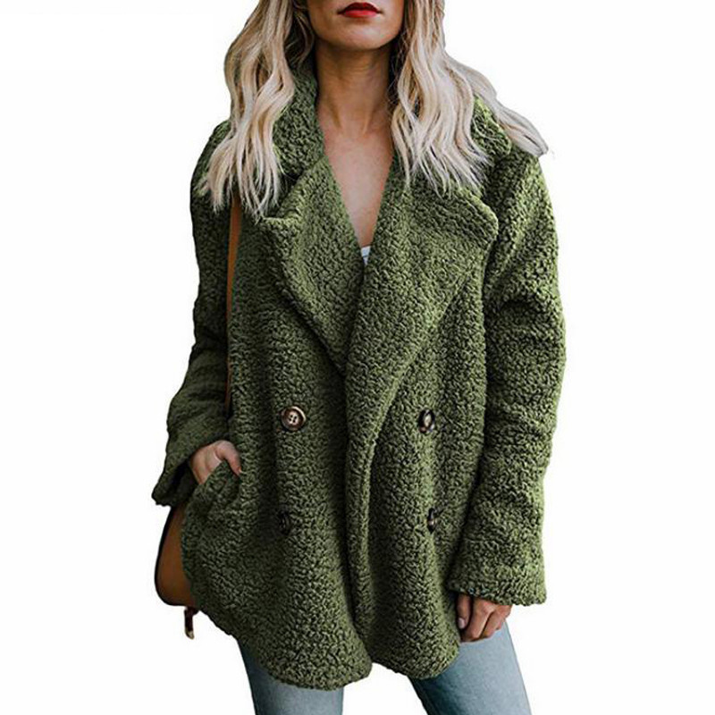 Teddy Coat Woman Winter Overcoat Thick Faux Fur Jackets Female Warm Lapel Coats Long Sleeve Fluffy Comfy With Pockets Plus Size