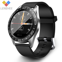 Lerbyee Smart Watch GT105 Bluetooth Waterproof Heart Rate Monitor Blood Pressure Smartwatch Men Women Call Reminder Color Screen Stopwatch Alarm Clock Fitness Watch Black Hot Sale for iOS Android