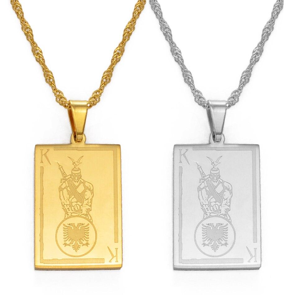 Ожерелье с прямоугольной подвеской Anniyo, Албания, Золотой/Серебряный цвет, ювелирные изделия для женщин и девушек #146221