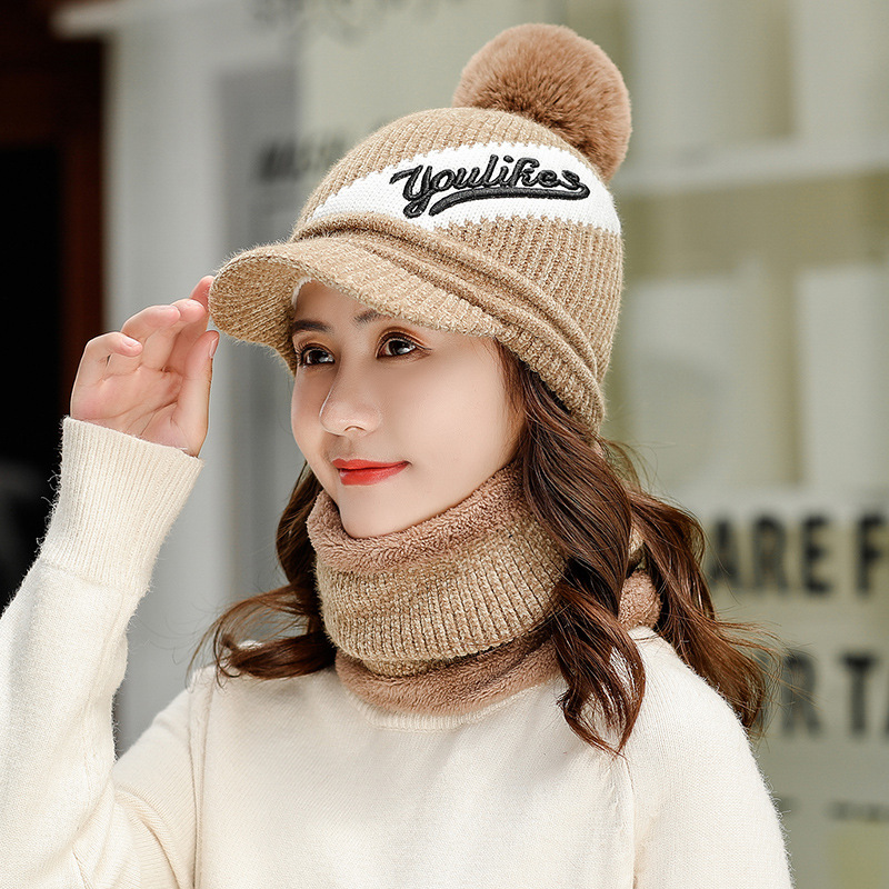 Kitted Winter Hat And Ring Scarf Set Two-Piece For Women Thicken Warm Set Female Hats Scarves Men Unisex Skuilles Beanie