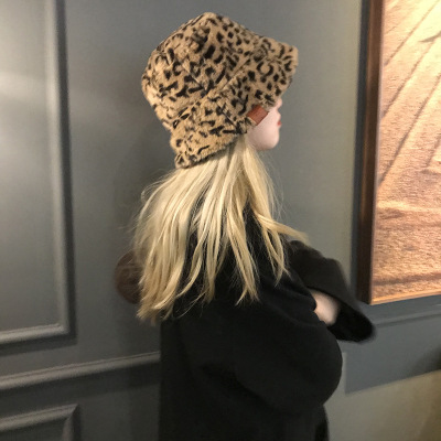 Ins 2020  Winter Hats For Women ,leopard Print Hats&caps ,Lovely Bucket Hat , Plush Fisherman's Hat, Warm Leopard Print