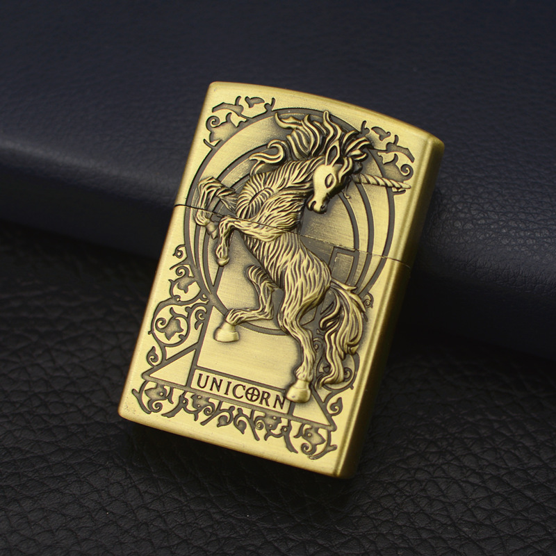 New Unicorn European Embossed Gas Wheel Lighter Inflatable Open Flame Personality Creative Men's Gift Cigarette Accessories