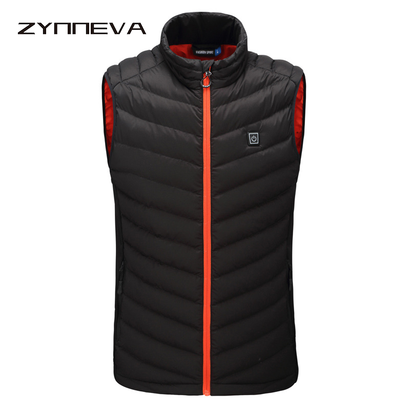 ZYNNEVA 2019 Winter Thermal Heated Vest USB Infrared Electric Men Women Heating Jacket Feather Warm Casual Waistcoat GC1104