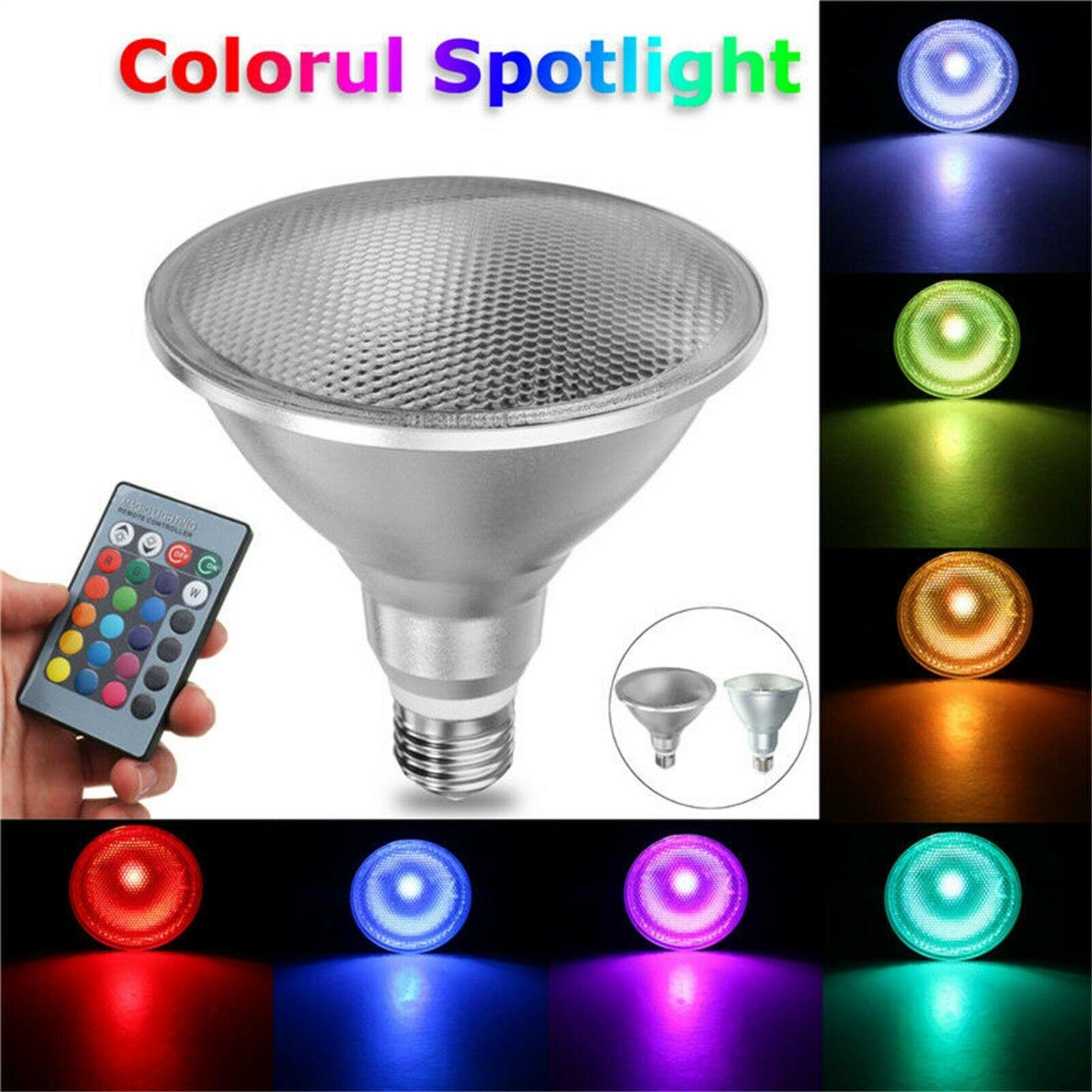 Dimmable RGB PAR30 PAR38 Par luz E27 15W 25W Bombilla de foco LED reflector Control remoto Multicolor decoración del hogar 110V 220V 85-265 V, luz infrarroja para interiores y exteriores, Sensor de movimiento, retardo de tiempo, interruptor PIR de iluminación para el hogar, lámpara nocturna sensible Led