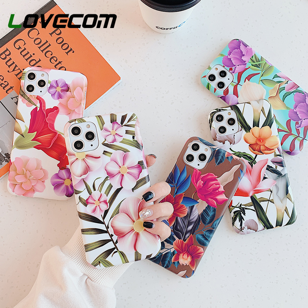 LOVECOM Beautiful Pressed Flower Leaf Phone Case For IPhone 11 Pro Max XR XS Max 6 6S 7 8 Plus X Matte Soft IMD Back Cover Gifts