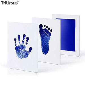 Baby Handprint Footprint Imprint Kit Photo Frame Non-Toxic Clean Touch Ink Pad Souvenirs Baby Monthly Birth Stickers For Gift
