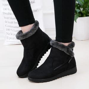 Image 3 - Plus Size Women Snow Boots Warm Plush Soft Bottom Winter Shoes Woman Ankle Boots Flock Mothers Cotton Shoes Botas Mujer SH09093