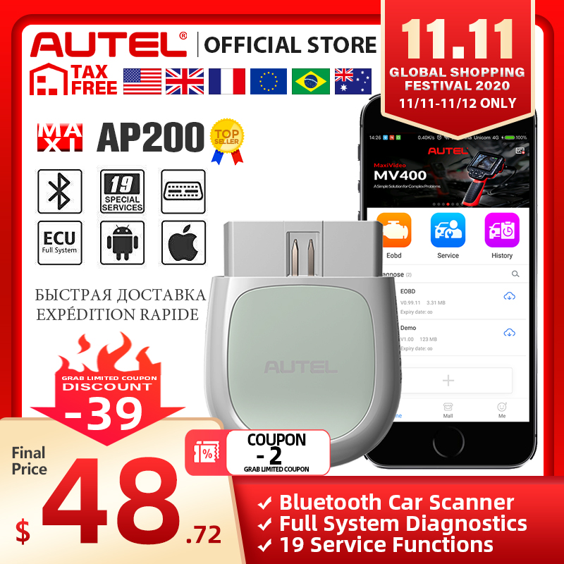 Autel AP200 Bluetooth OBD2 Scanner Code Reader Full System Diagnostic Tool diagnostic scanner PK MK808 easydiag 3 0 ThinkDiag