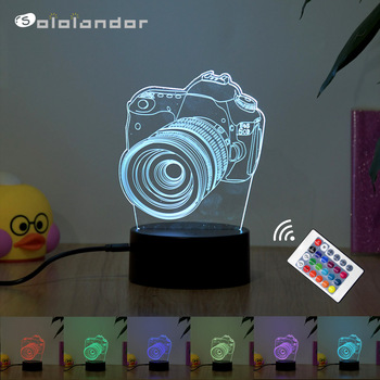 Camera Gift Home decoration LED Desk Table Lamp 7/16 Color 3D Night light Touch / remote control Child gift holiday Night Light