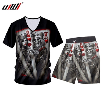 цена на UJWI V-neck T-shirt Suit 2 Piece Casual Sleeve Fashion Tracksuits T Shirt and Shorts New 3D Printed Poker Skull Summer Polyester