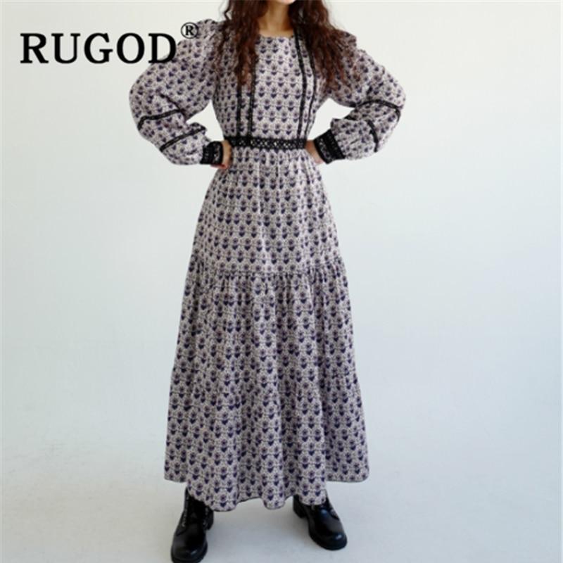 RUGOD корейское кружевное Женское Платье макси с принтом, модное свободное платье с длинным рукавом 2020, весенние платья с оборками, повседневн...