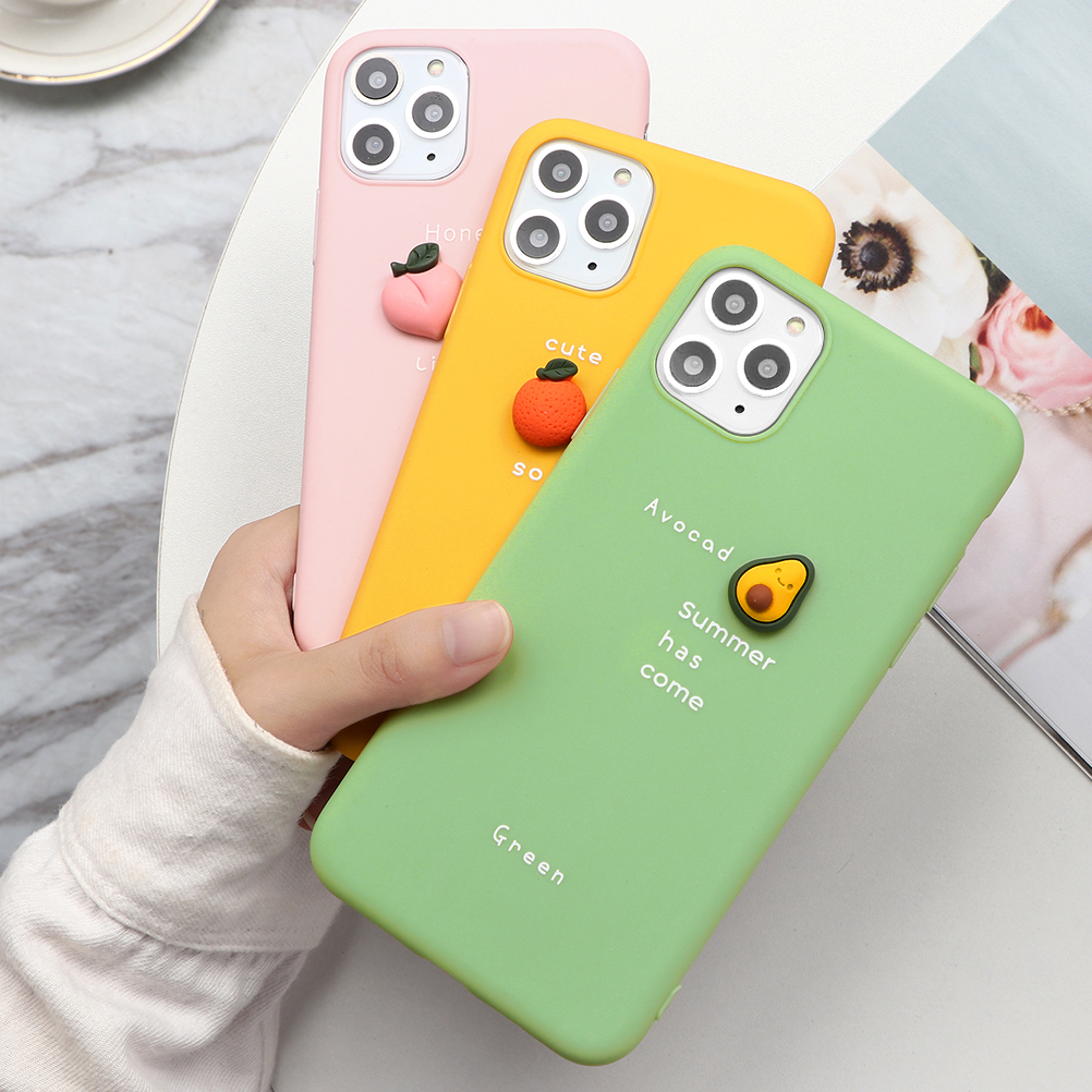 Candy Color <font><b>3D</b></font> Fruit Letter Acovado Phone Case For <font><b>iPhone</b></font> 7 8 6 6S Plus 5 <font><b>5S</b></font> SE 11 Pro XR XS Max X Silicone Soft TPU Back Cover image