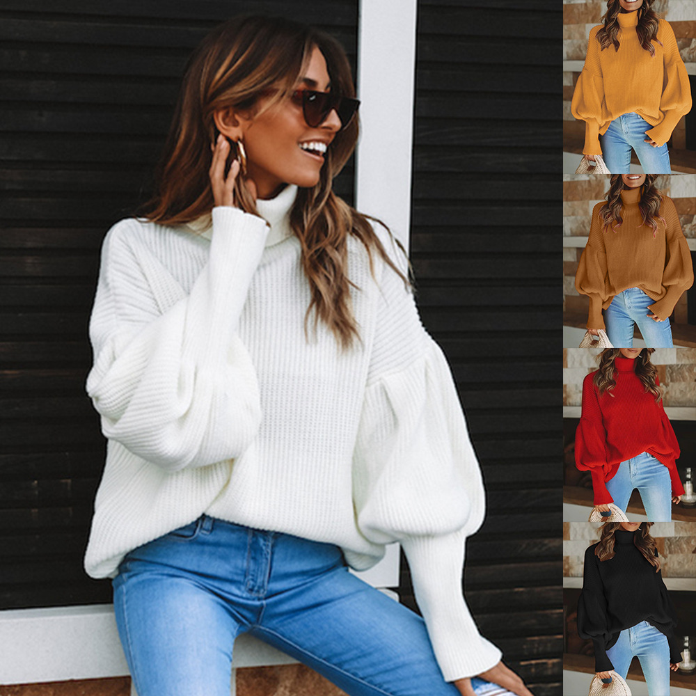 Womens Red Turtleneck Lantern Sleeve Sweater 2019 Autumn And Winter New Sweater Solid Style Long Sleeve Pullover Plus Size Women