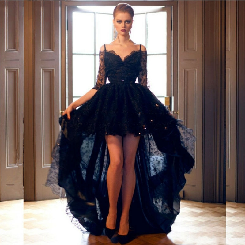 Black Lace Short Front Long Back High Low Prom Sequins Spaghetti Straps Evening Gown For Graduation Mother Of The Bride Dresses