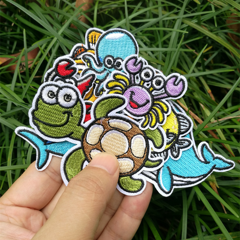Sea Biological Cloth Stickers Embroidery Patch Clothes Accessories T-shirt Children Cartoon Chest Stickers DIY