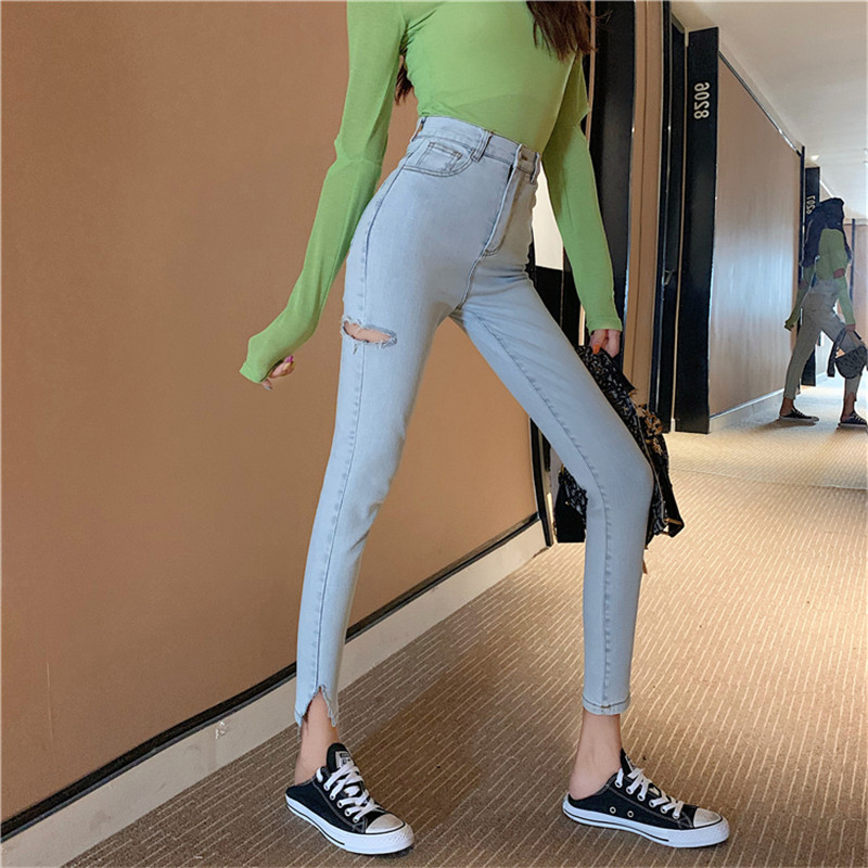 2019 New Fashion Ladies Personality Hole-breaking Slit Fork Jeans