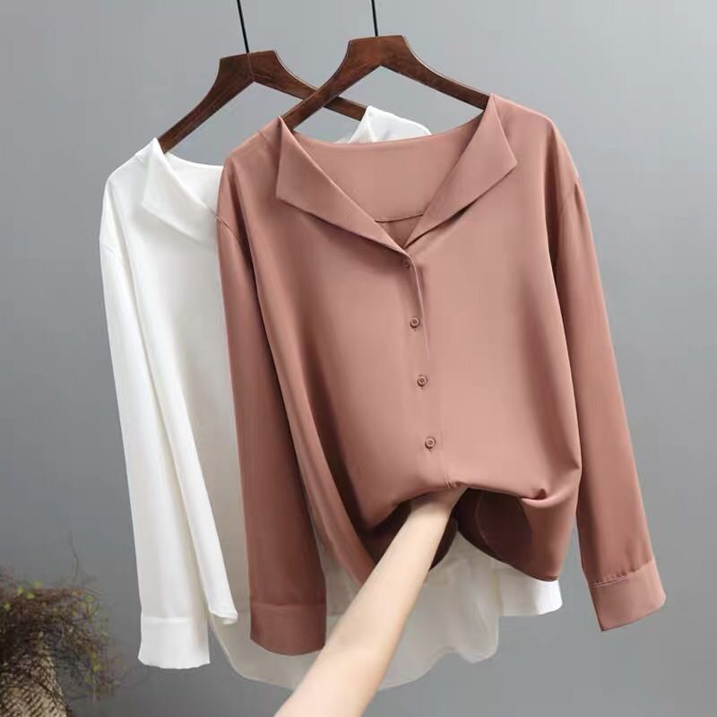 COIGARSAM Casual Full Sleeve Shirt Womens Tops New Spring French Style Chiffon Loose Women Shirts White Brick Red Apricot 8972