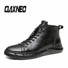 CLAXNEO Man Ankle Boots Design Casual Leather Shoes Male Winter Boot Wool Fur Warm clax Shoe Big Size