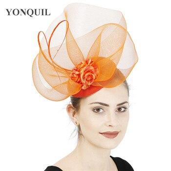 Sombrero de novia de malla naranja a la moda, tocado elegante de banda para la cabeza con diadema, accesorios para el cabello bonitos