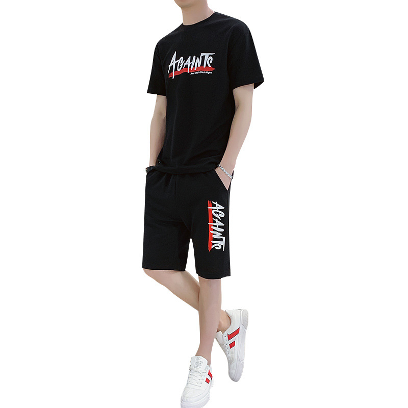 Tshirt Men's Suit 2 Pieces Sets Plus Size 4XL + Tracksuit Male 2020 Men Clothing Sportswear Set Fitness Summer Print Men Shorts