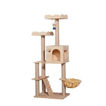 Large cat climbing frame  litter tree  scratching column  toy jumping platform multi-layer solid wood  supplies