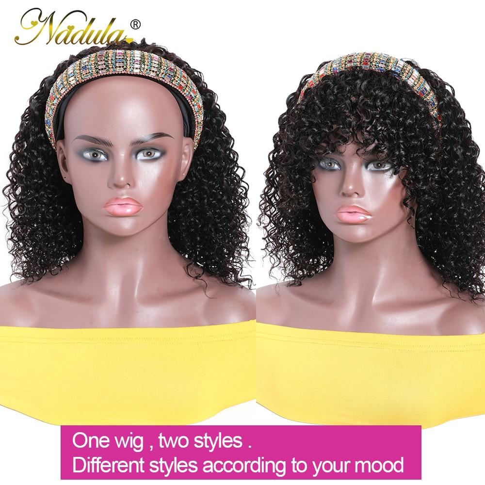 Nadula Hair Headband Wigs with Bangs  Curly  Hedaband Wig Natural Color Headband Wig  With Bangs 3