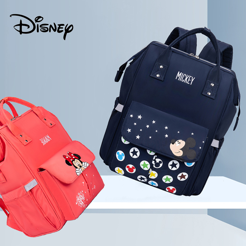 Genuine Disney Mickey Mouse Mummy Diaper Bags Maternity Nappy Large Capacity Baby Bag Travel Backpack Nursing Baby Care Wet Bag