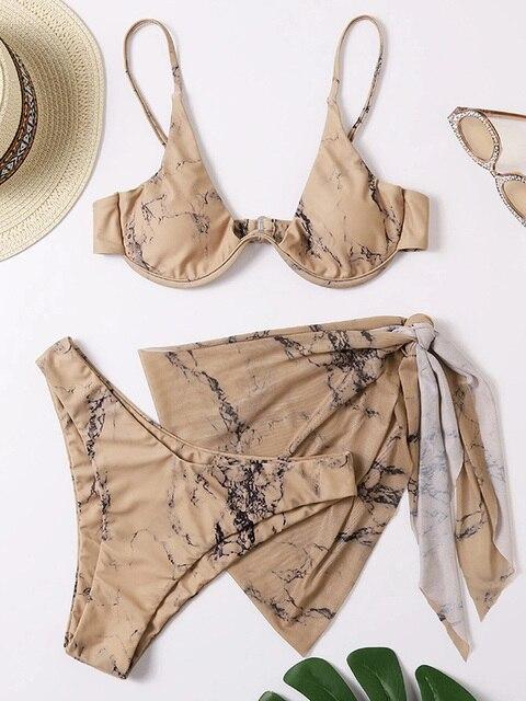 Sexy Marble Print Push Up bikini Women Swimsuit Female Swimwear 3-piece Bikini set V-Bar Wired Short Skirt Bathing suit Swim