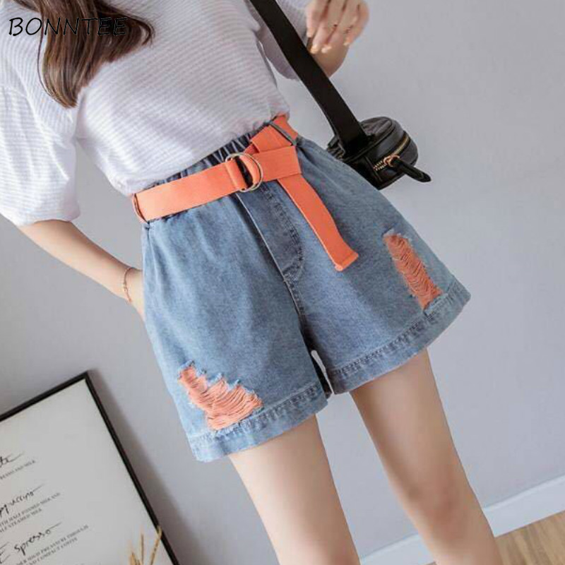 Shorts Women Patchwork Denim Wide Leg Loose Casual With Sashes Korean Leisure Chic Trendy Vintage High Waist Summer Short Womens