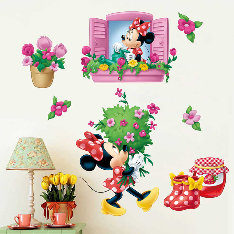 Cartoon Disney Fashion Minnie Window Flowers Wall Stickers For Kids Rooms Party Gifts Home Decor Wall PVC Mural Art Diy Decals