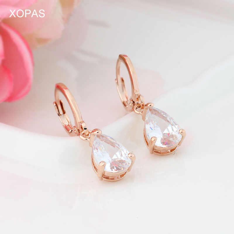 585 Cor de Rosa de Ouro Brincos de Gota de Água Cubic zirconia Pedra Brincos Pendurados Para As Mulheres/Meninas Brincos Longa Queda de moda jóias
