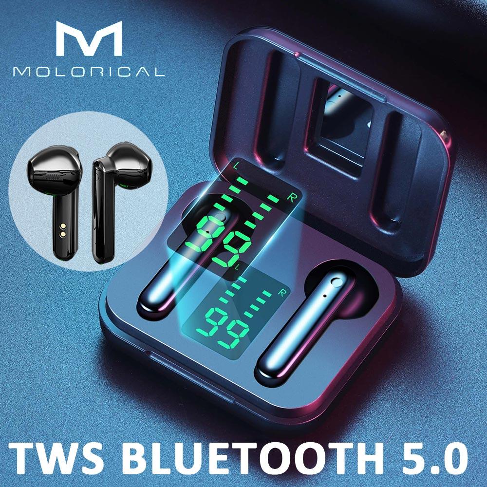 Molo tws bluetooth 5.0 fones de ouvido sem fio bluetooth fone com microfone esportes controle toque chamada telefone