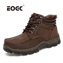 купить Super Warm Men Boots Natural Nubuck Leather Winter Shoes Outdoor Waterproof Ankle Snow Boots Lace-up Walking Shoes Men дешево