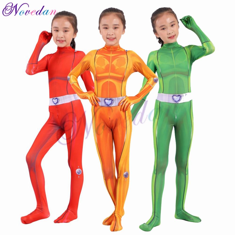 Kids Girls Totally Spies Cosplay Costume Zentai Suit Bodysuit Hero Jumpsuit Cosplay Halloween Child Kids Girls Party Costume