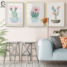 Watercolor Canvas Printed Cactus Painting Poster Botanical Wall Picture Flower for Living Room Office Decoration