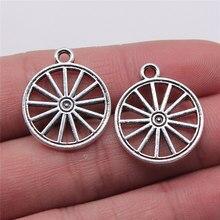 Wysiwyg 5 pçs 20x23mm encantos wagon roda antigo cor prata pingente wagon roda encantos para jóias fazendo descobertas de jóias