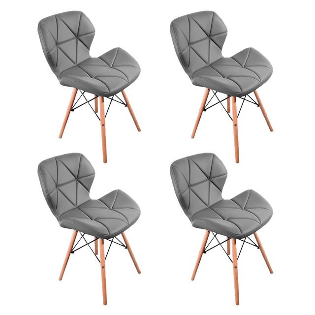 A set of 4 modern dining chairs, retro-designed armchairs, high-quality PU chair  with wooden legs, suit for dining room