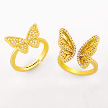 FLOLA Crystal Butterfly Rings For Women White Stone Cuff Open Finger Ring Adjustable Cubic Zirconia Korean Jewelry Gifts rigK04