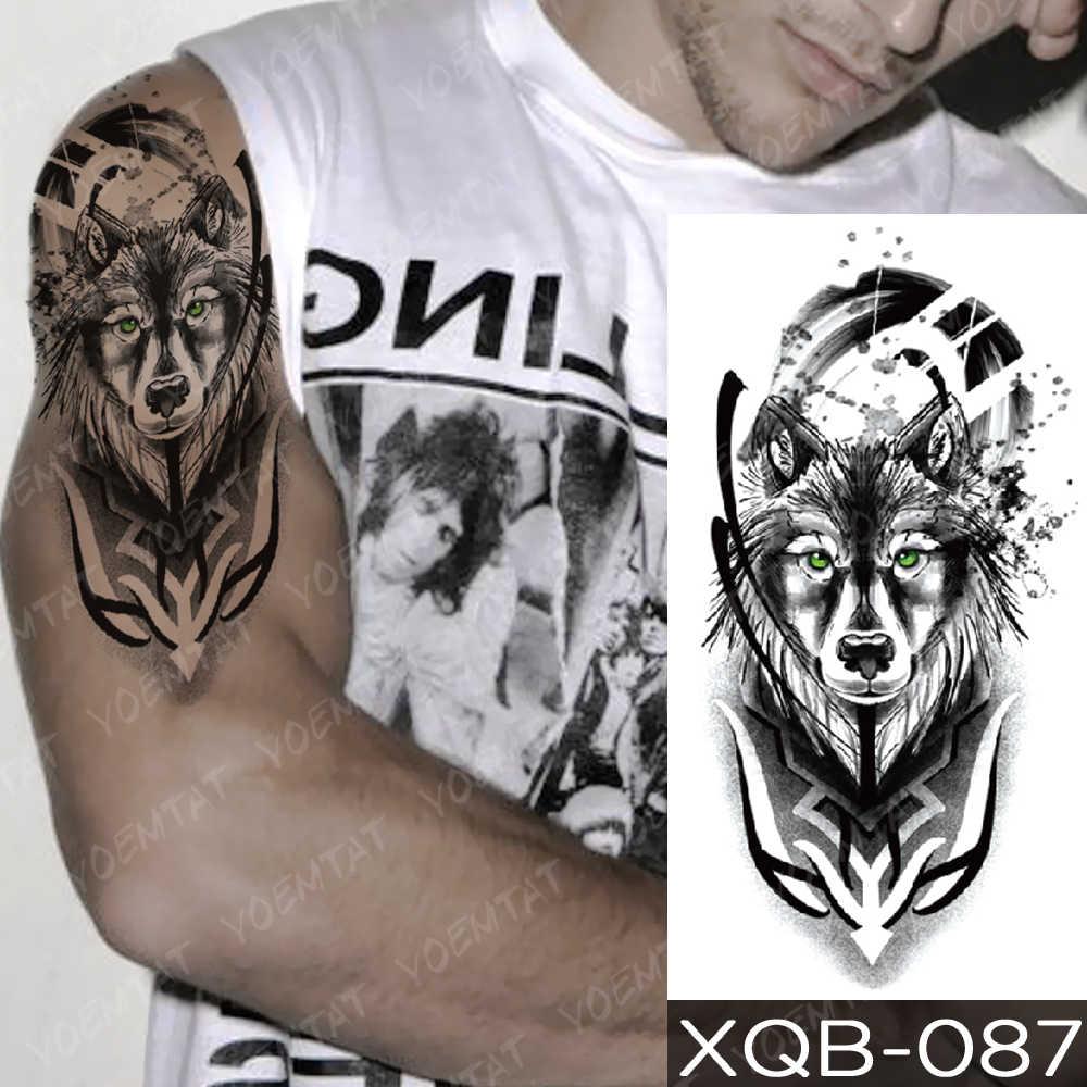 방수 임시 문신 스티커 시계 오렌지 블루 눈 늑대 플래시 문신 사자 나침반 바디 아트 팔 가짜 문신 여성 남성
