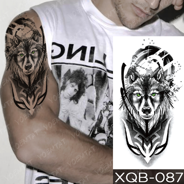 Waterproof Temporary Tattoo Sticker Clock Orange Blue Eyes Wolf Flash Tattoos Lion Compass Body Art Arm Fake Tatoo Women Men 2