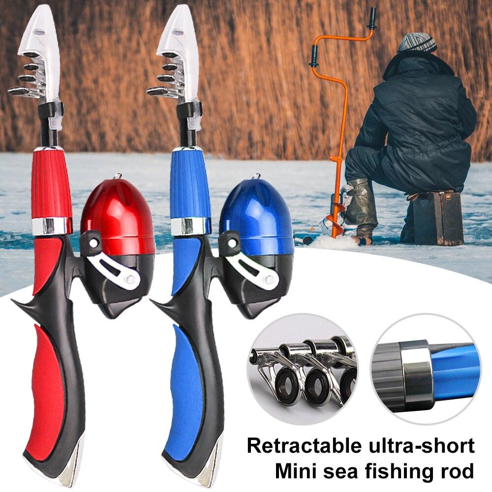 Portable Mini Telescopic Fishing Rod Carbon Fiber Travel winter Fishing Rod Sea Ultralight Fishing Tackle Set De Pesca1.4m New|Rod Combo| |  - title=