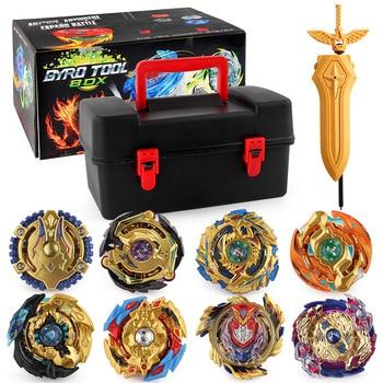 Toupie Bayblade Metal Fusion Burst Set Gyroscope Toy DIY with 8PCS Set Limited Gold Version Children's Storage Box Toolbox Gyro