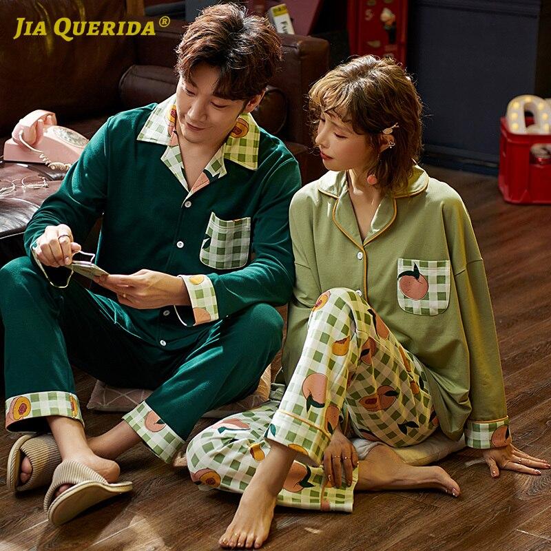Fashion Turn Down Collar Pajamas Men And Women Sleepwear Homesuit Homeclothes Front Pocket Pajamas Couple Buttons Pajamas Set