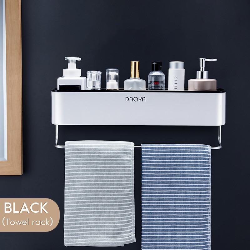 Bathroom Shelf Wall Mounted Shampoo Shower Shelves Holder Kitchen Storage Rack Organizer Towel Bar Bath Accessories 5