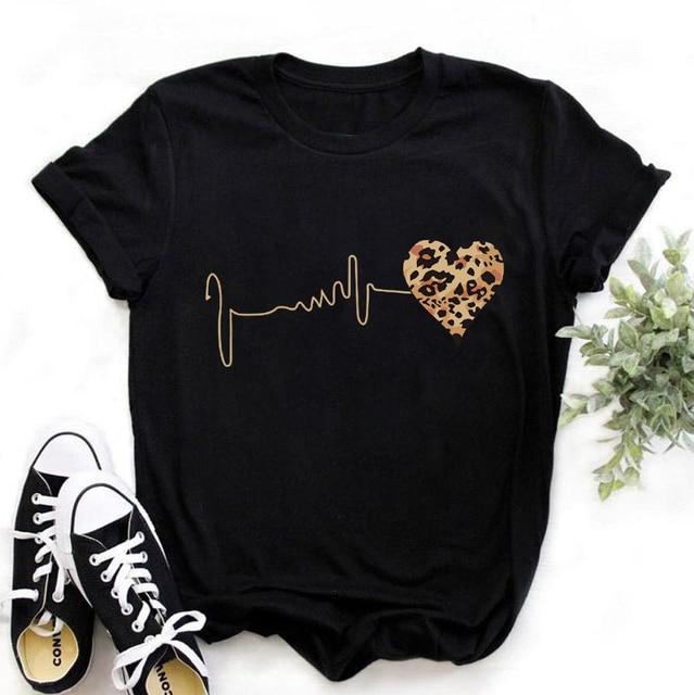 ZOGANKIN Summer Fashion Shirt Lips Leopard Graphic T Shirt Women Tops Base O-neckBlack Tees Kiss Leopard Lip Funny Girls Tshirt 4