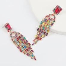 Moda metal quadrado strass vidro longo borla brincos femininos criativo moda jóias acessórios
