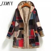 2021 Winter Vintage Frauen Mantel Warme Druck Dick Fleece Mit Kapuze Lange Jacke mit Tasche Damen Outwear Lose Mantel für Frauen