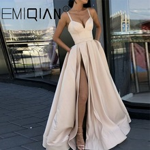 Prom-Dress Spaghetti-Straps Champagne Evening-Dresses Satin A-Line Muslim Long Sweetheart